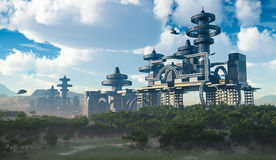 未来派城市鸟瞰图有飞行太空飞船的 免版税库存照片