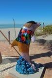 海豚的雕象 库存图片