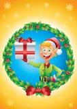 Эльф держа присутствующую предпосылку омелы рождественской открытки Стоковое Изображение