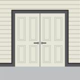 Двойные двери плоского дизайна деревянные Стоковое Фото