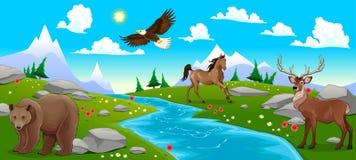 与河和动物的山风景 免版税库存照片