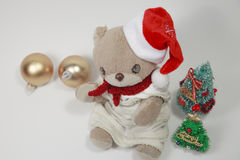 逗人喜爱的玩具熊的圣诞快乐 库存照片