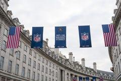 在摄政的街道上的美国橄榄球联盟 免版税库存图片