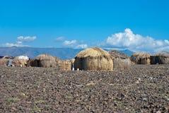 Традиционные африканские хаты, Кения Стоковое фото RF