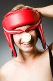 有赢取的滑稽的拳击手 免版税图库摄影