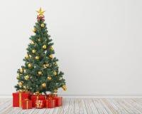 与礼物的圣诞树在葡萄酒屋子,背景 免版税图库摄影