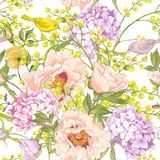 柔和的春天花卉无缝的背景 库存照片