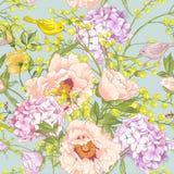 柔和的春天花卉无缝的背景 库存图片