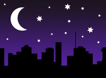 繁星之夜城市场面剪影 免版税库存照片