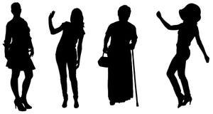 妇女传染媒介剪影  免版税库存图片