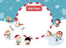 Παιδιά που παίζουν υπαίθρια το χειμώνα Α Στοκ Εικόνα