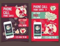 从圣诞老人飞行物设计的电话 免版税库存图片
