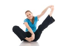 美好的执行的执行查出的女子瑜伽 免版税库存图片