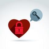 心脏挂锁锁和关键概念性象,打开我的心脏,打开您的感觉,从感觉,传染媒介骗局释放您的心脏,安全 免版税库存照片