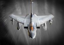 在飞行中喷气式歼击机 库存图片