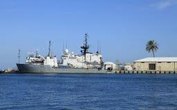 在基韦斯特岛海口的军舰 库存照片