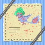 与一只美妙的鸟的假日明信片 免版税库存图片