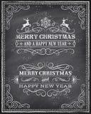 传染媒介圣诞节黑板贺卡 免版税库存照片