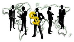 拿着金钱有世界地图背景的商人 免版税库存照片
