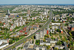 Столица города Вильнюса вида с воздуха Литвы Стоковое Изображение