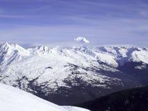勃朗峰山全景,法国,欧洲 免版税库存图片