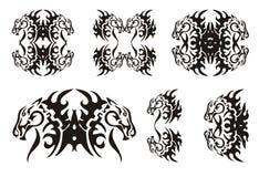 Φυλετικά στοιχεία αλόγων μαύρο λευκό Στοκ φωτογραφία με δικαίωμα ελεύθερης χρήσης