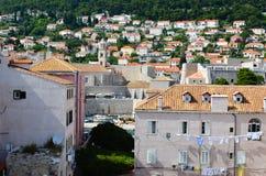 房子上部看法杜布罗夫尼克,克罗地亚老镇  免版税库存照片