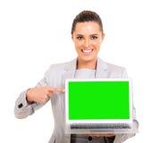 女实业家绿色屏幕 免版税库存照片