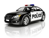 侧视图演播室被射击黑轿车警车概念 免版税库存图片