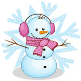 在毛皮耳机的雪人 免版税库存图片