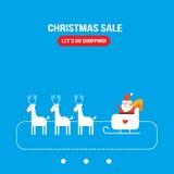 Χαριτωμένο επίπεδο σχέδιο ευχετήριων καρτών διακοπών Χριστουγέννων έτους Άγιου Βασίλη νέο Στοκ εικόνα με δικαίωμα ελεύθερης χρήσης