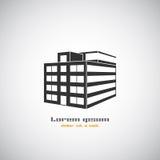 Αφηρημένο αρχιτεκτονικής κτηρίου πρότυπο σχεδίου λογότυπων σκιαγραφιών διανυσματικό Εικονίδιο επιχειρησιακού θέματος ακίνητων περ Στοκ Φωτογραφίες