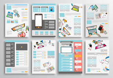 Комплект дизайна рогульки, шаблонов сети Дизайны брошюры Стоковая Фотография