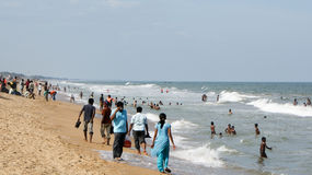 在本地治里市,印度北部的海滩 免版税图库摄影