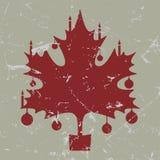 减速火箭葡萄酒红色圣诞节枫叶卡片 库存图片