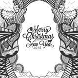 圣诞节和新年好乱画与印刷术的剪影 免版税库存照片