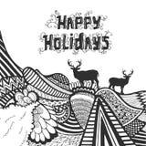 圣诞节和新年好乱画与印刷术的剪影 免版税库存图片