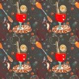 无缝的乱画背景用被仔细考虑的温暖的酒 免版税库存图片