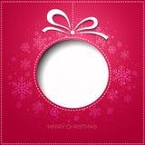 Ευχετήρια κάρτα Χαρούμενα Χριστούγεννας με το μπιχλιμπίδι Έγγραφο Στοκ εικόνες με δικαίωμα ελεύθερης χρήσης