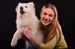 女孩和狗 库存照片
