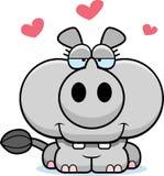 Влюбленность носорога шаржа Стоковая Фотография RF