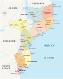 Διοικητικός χάρτης της Μοζαμβίκης Στοκ Φωτογραφία