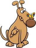 Σκυλί με την απεικόνιση κινούμενων σχεδίων πεταλούδων Στοκ φωτογραφίες με δικαίωμα ελεύθερης χρήσης