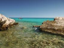 岩石海岸,希腊海岛 库存照片