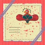 与一只美妙的鸟的假日明信片 免版税图库摄影