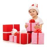 把男孩圣诞节礼品装箱 查出在白色 库存照片