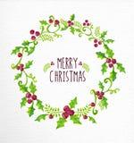 圣诞快乐水彩霍莉莓果花圈卡片 库存图片