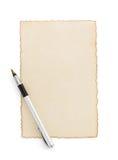 在白色的年迈的纸羊皮纸 库存图片