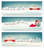 Εμβλήματα Χριστουγέννων διακοπών με τα χωριά Στοκ Εικόνες