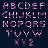 Ρόδινο αλφάβητο επιστολών διαμαντιών στο σκοτεινό υπόβαθρο Στοκ φωτογραφίες με δικαίωμα ελεύθερης χρήσης